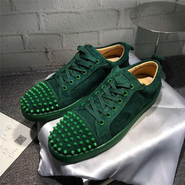 Top Designer de Luxo Homens Parte Andando Red Bottom Sneaker Studded Spikes Low Top Rebites Júnior Plana Homens Mulheres Amantes Formadores Com Caixa