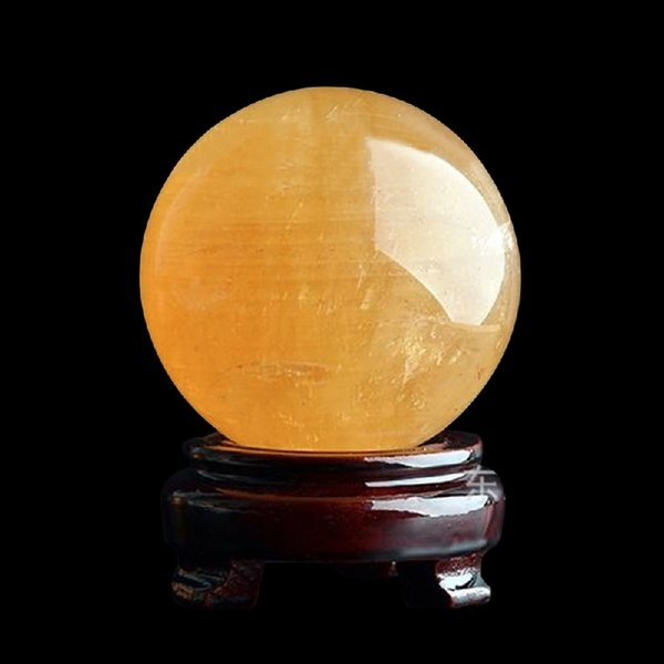 40mm Rare Yellow Natural Stones Feng Shui Crystal And Minerals Amber Raw Quartz Crystals Figurines Ball Gifts Drop Shipping C19041101