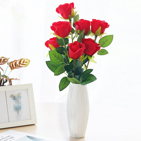 48cm 10 Piece Artificial Rose Fake Rose Dried Flowers Silk Flowers Artificial Plants For Wedding Decoration Decorative Flowers