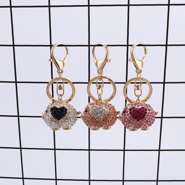 Cute Pig Pendant Key Chain Rhinestone Car Key Ring Holder Lady Handbag Ornament Women Accessories Gifts for Friends
