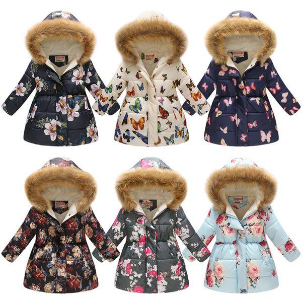 Куртки для девочек 2019 зимние пальто с хлопком и подкладкой для девочек Одежда для детей с меховым воротником Куртки для девочек Костюм для детей Верхняя одежда с капюшоном BLE418