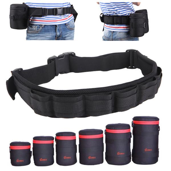 belt camera holder Photo Adjustable Black Strap DSLR Padded Camera Waist Belt Holder w/ Nylon Functional Soft Padded Lens Bag Pouch Case