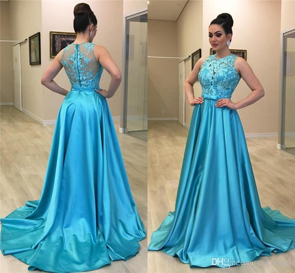 African Long Prom Dresses 2019 Sheer Blue Lace Appliques Girls Party Gowns  Cheap Plus Size Formal Evening Gowns Vestidos De Festa Cheap Prom Dresses  ...