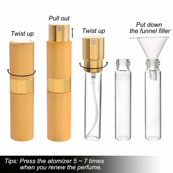 Urijk 4pcs 8ml Spray bottiglia di profumo riutilizzabile Spray di alluminio Atomizzatore Contenitore portatile di viaggio cosmetico Contenitore di profumo