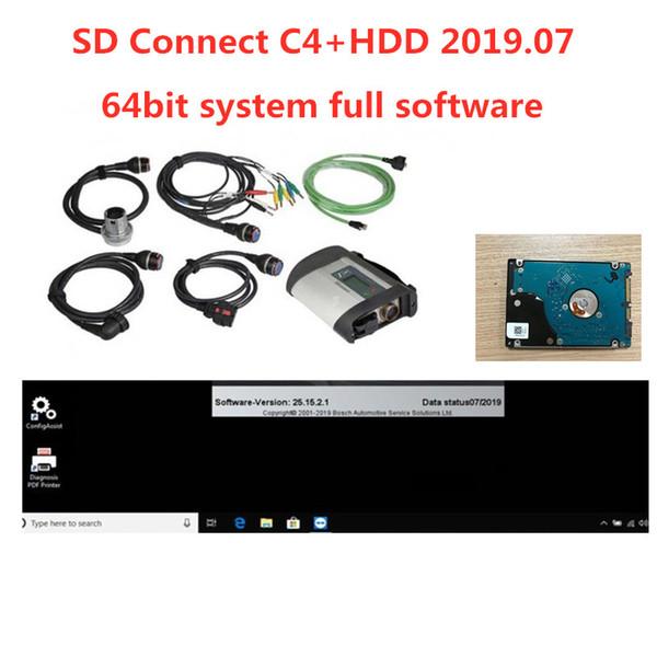 En Kaliteli Mb Yıldız C4 SD Connetct C4with HDD 2019.07 Tam Yazılım DTS Monaco + vediamo win10 64bit Teşhis Aracı