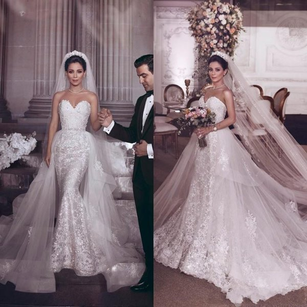 2019 New Sexy Mermaid Wedding Dresses Lace Appliques Beads Sleeveless Sweetheart Open Back With Detachable Train Plus Size Bridal Gowns