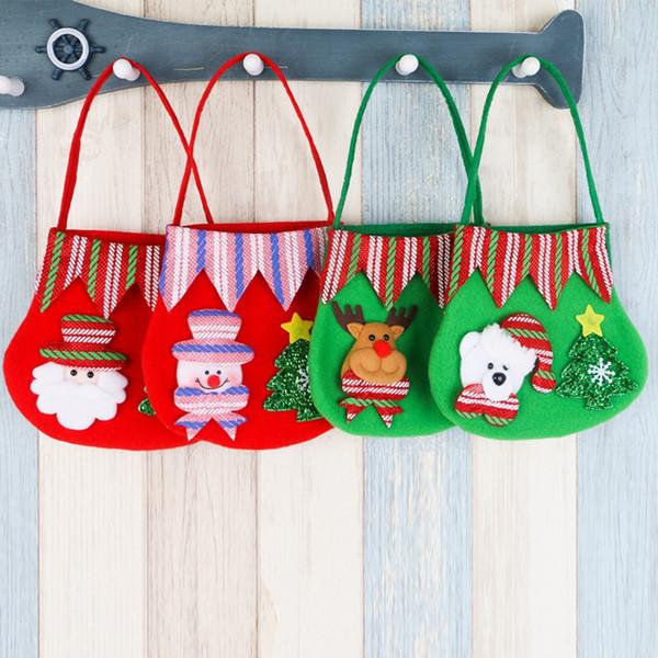 Simpatico Babbo Natale Pupazzo di neve orso alce portamonete sacchetti di imballaggio del pacchetto borse Buon Natale pacchetto di stoccaggio per i bambini adulti