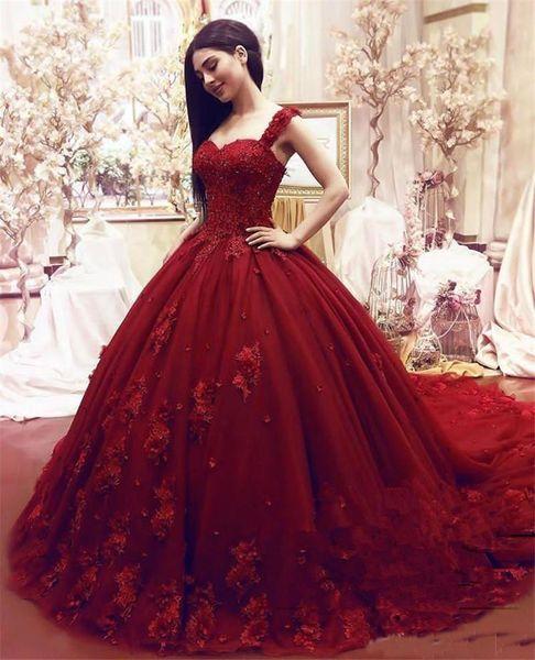 2019 Moda Doce 16 Quinceanera vestido de baile Lace apliques florais 3D frisada Masquerade Puffy Longo Prom Formal Wear Vestidos