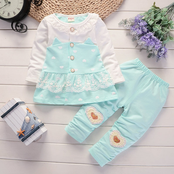 good quality 2019 Baby Girl Clothes 2pcs Clothing Sets Newborn Clothes Infant Tops + Leggings Pants Outfit Clothes Girls Tracksuit