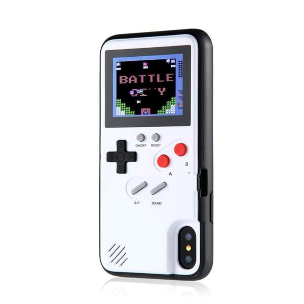 Mini handheld consolas de jogos phone case silica gel luva protetora máquina de jogo retro cor lcd para iphone6 7 8 8 plus x xs max xr