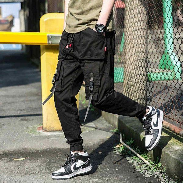 Camuflaje Pantalones Joggers 2019SS cintas de algodón mezcla de Hip-Hop Streetwear Hombres Pantalones cargo pantalones elásticos de la cintura Harem Men.B100748Y 2019