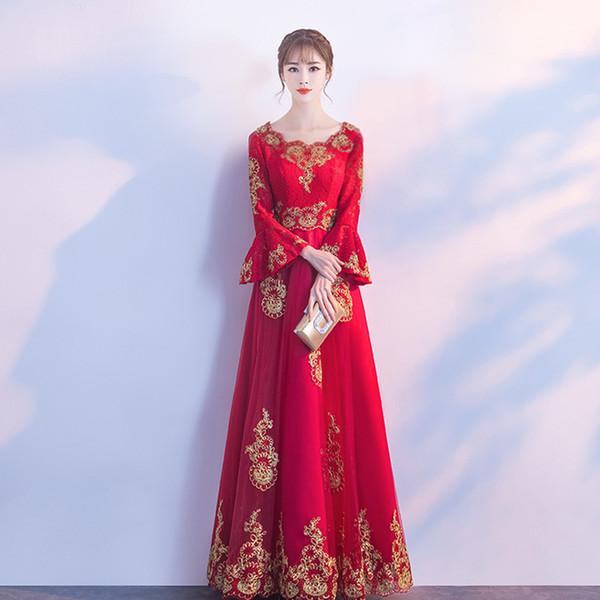 Красный кружева вышивка восточный стиль платья китайская невеста старинные традиционные свадебные Cheongsam платье длинные Qipao плюс размер XS-3XL