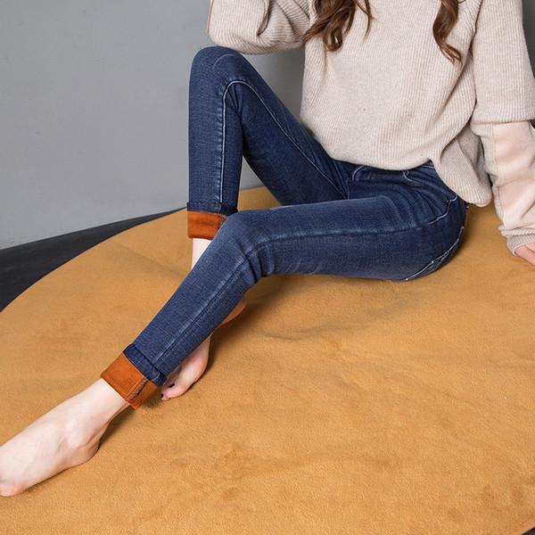 Nonis Kadın Kot Artı Boyutu Kalın Sıcak Kadife Orta Bel Kadın Streç Slim Fit Kış Kalemler Kovboy Denim Pantolon Uzun pantolon