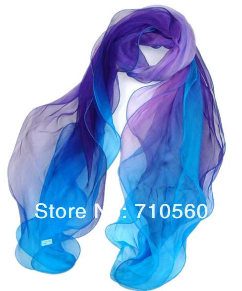 free shipping pure silk georgette long scarf for women solid color multicolor 35*165cm ouya