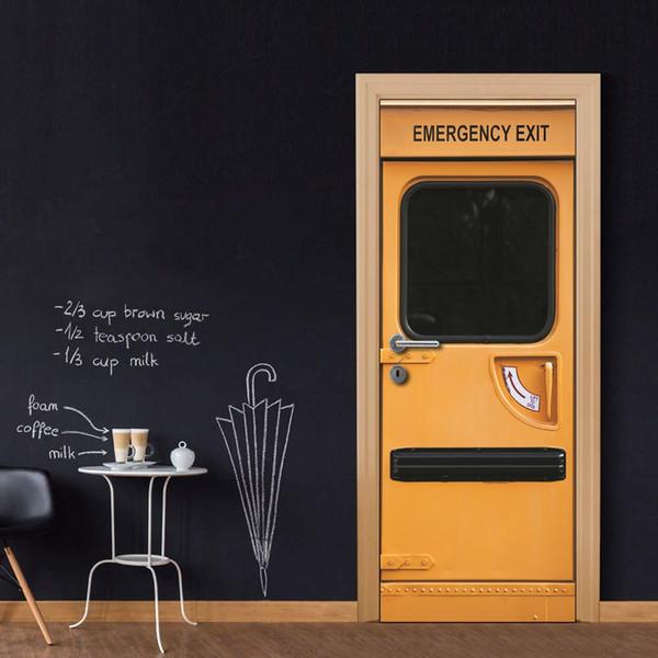 Wholesales DIY Door Sticker EMERGENCY EXIT Door Decal for Bedroom Living Room wallpapers Decal home accessories