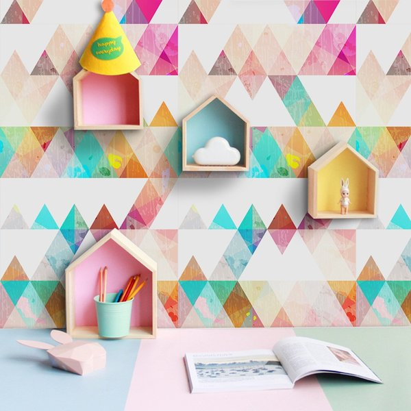 Colorful Nordic Geometric Triangle Pattern Pvc Selfadhesive Wallpaper Contact Paper For Kids Room Furniture Renovation Stickers Screensaver Wallpapers