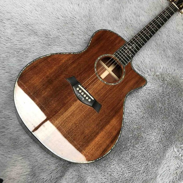 top popular Solid Koa Wood Cutaway Ebony Fingerboard G916K Acoustic Guitar with Pickup EQ with Headstock Can be Customized Logo 2020