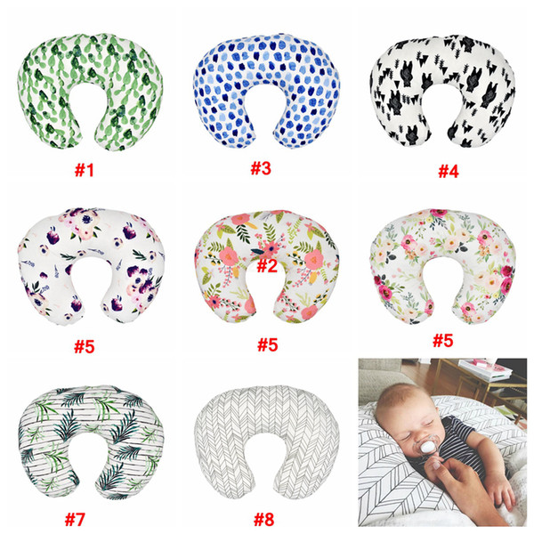 top popular Baby Floral Nursing Soft Pillow Cover Infant Cuddle U Shaped Pillowcase Car Sofa Cushion Cover Kids Feeding Waist Pillowcase hot LJJA2272 2021