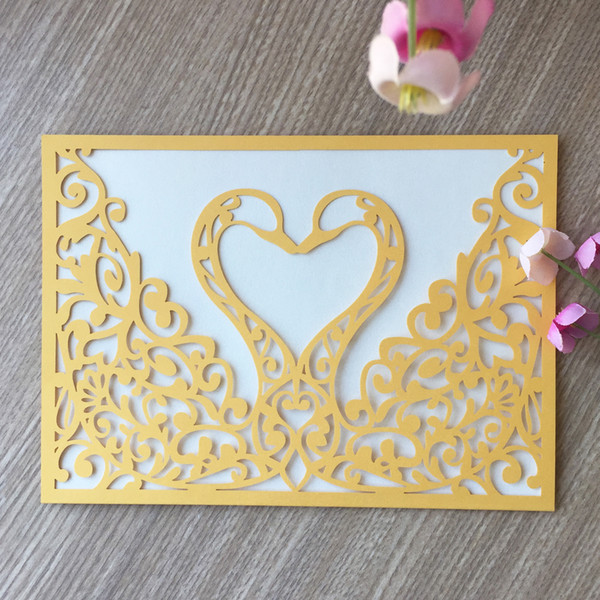 Exquisite Elegant Swan Laser Cut Pearl Paper Envelope Wedding Invitation Birthday Party Card Supplier Business Dinner Make A Birthday Card Make A