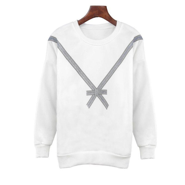 Outono Casual Branco Simples Boho 2019 Plus Size Mulheres Hoodies solto Grey Grosso Imprimir bowknot inverno Rosa Blusas femininas Moletons