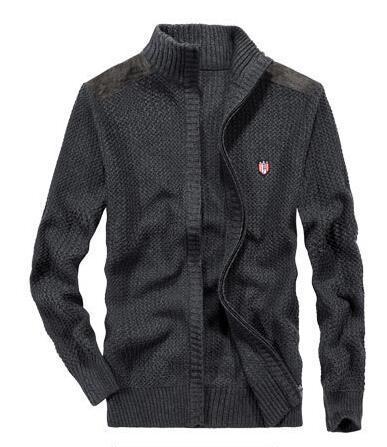 Free shipping 2019 winter Fashion Stylist Brand men's 100% cotton Turtle Neck zipper sweater men's Casual Cardigan sweater