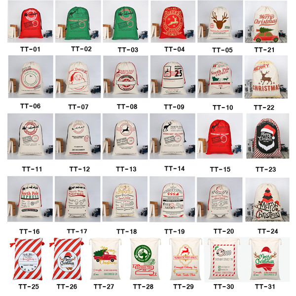 best selling 2021 Christmas Gift Bags Large Organic Heavy Canvas Bag Santa Sack Drawstring Bag With Reindeers Santa Claus Sack Bags for kids
