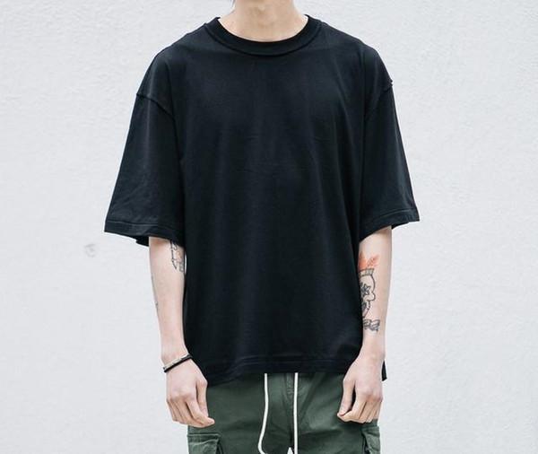 Boş boy t gömlek moda kanye batı katı gevşek t shirt hip hop streetwear erkek yarım kollu yaz giyim