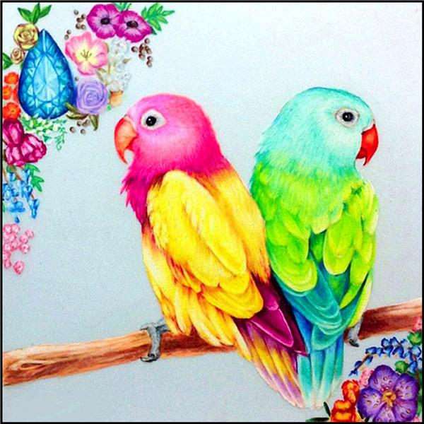 5D Full Diamond Painting Parrots Embroidery Cross Stitch Kit Room Deco Craft DIY