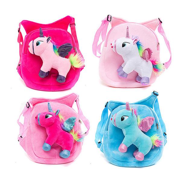 Mini Plush mochilas baby bolsas Flamingo Unicorn Crianças Backpack destacável Plush Shoulder Kindergarten Bag