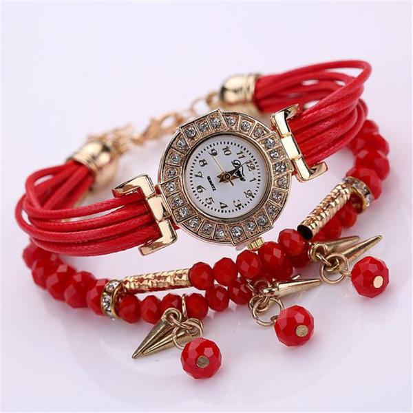 Fashion Ribbon Strap Weave Wrap Around Bracelet Watch Crystal Synthetic Fashion Chain Watch Relojes Mujer