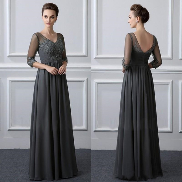 2019 Formal Gray Beach Mother Of the Bride Dresses Jewel Appliques 3/4 Long Sleeves Backless Long Mother Dress Evening Party Gowns Cheap