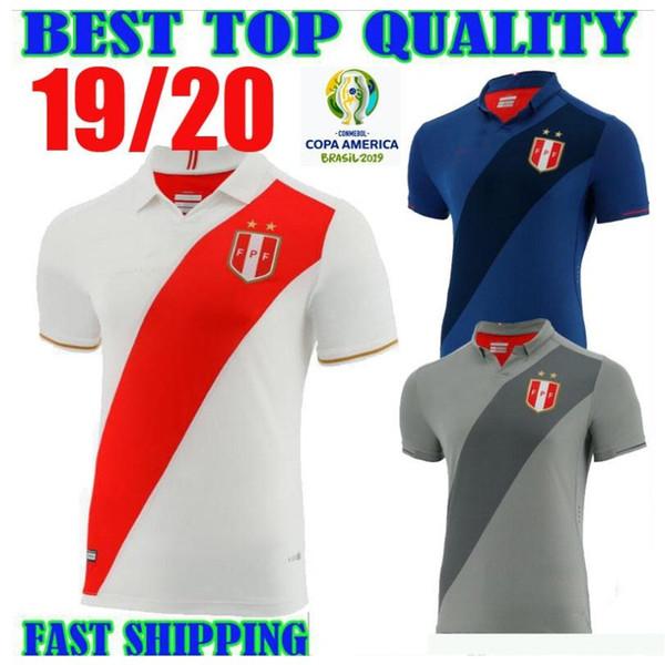 2019 Nazionale di calcio del Perù Uniformi bianco maglie di calcio manicotto 19 20 Coppa America di calcio camice corto di calcio nero in vendita