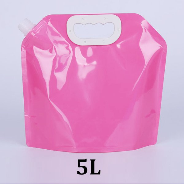5L pink food grade tote outdoor travel collapsible 5000ml plastic stand up pouch with spout for water package