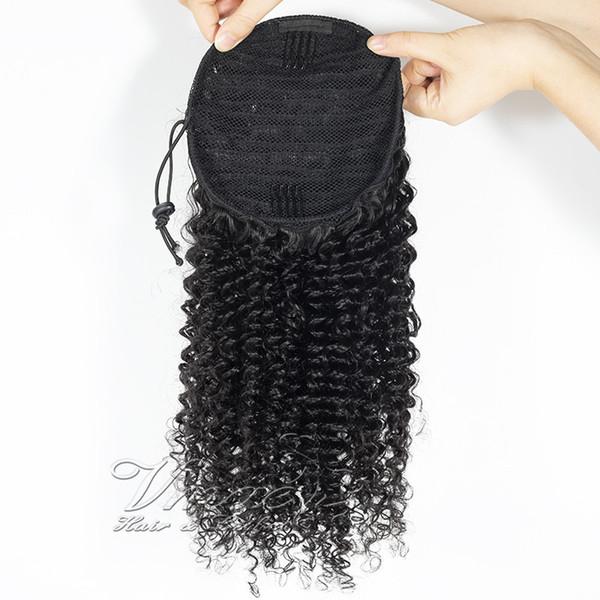 Indian Virgin Natural Black Clip In Elastic Band Hair Ties Drawstring Curly 3C Afro Kinky Human Hair Ponytail for black women