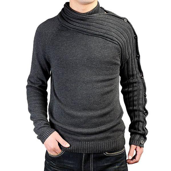 Pop2019 Men Man camisola de tricô camisola. Auto-cultivo jovem e de meia-idade Stand de chumbo Pullover cor sólida desgaste masculino