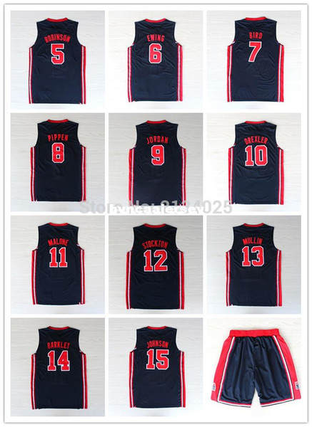 1992 Dream Team Trikot 5 David Robinson 6 Patrick Ewing # 7 Larry Bird Johnson Stockton Malone Basketball Trikots Ncaa