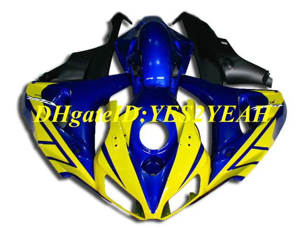 Kit de carenado de motocicleta de primera clase para Honda CBR1000RR 06 07 CBR 1000RR 2006 2007 CBR1000 ABS Amarillo azul carenados conjunto + regalos HH65