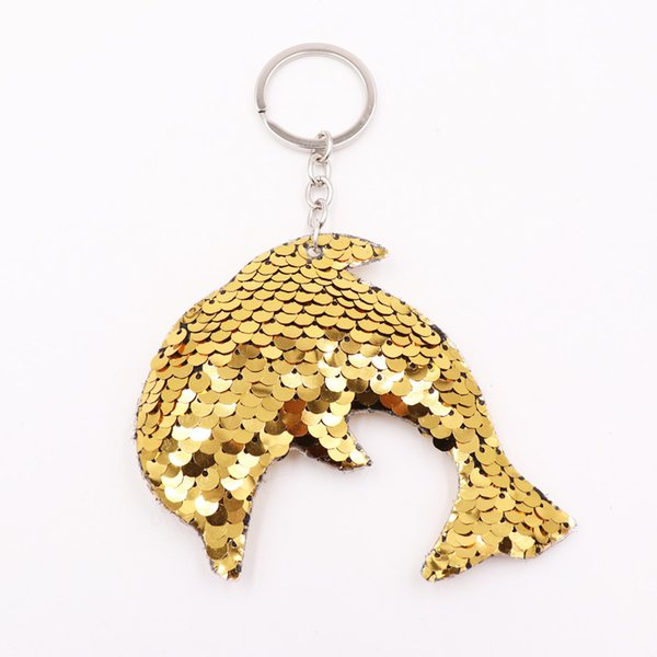 Double Sides Dolphin Decor Shape Sequins Keychain Women Bags Car Phone Charm Accessories Colorful Animal Sequins Keyrings