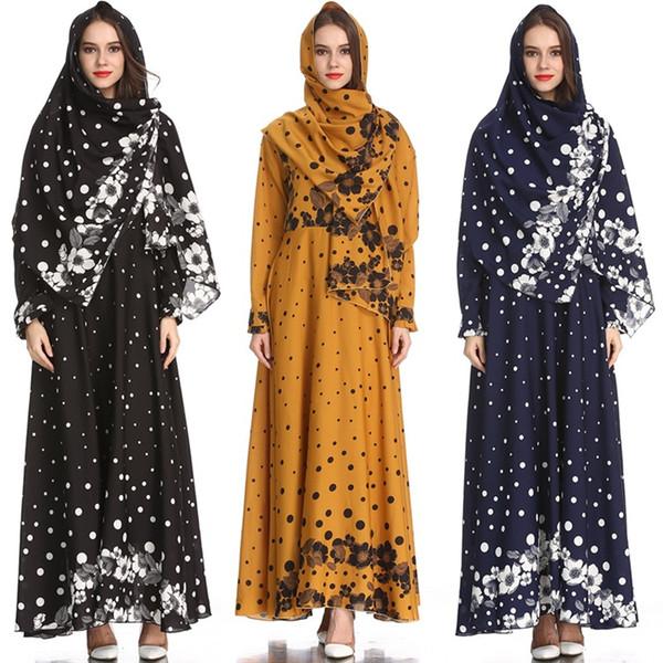 top popular Women Abaya Muslim Dress Arabic Abayas Printed Velvet Pakistani Dubai Islamic Print Warm Dresses Navy Blue vestido DK738MZ 2021