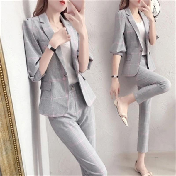 Plaid small suit suit female spring New high quality fashion temperament British style leisure Two-piece women