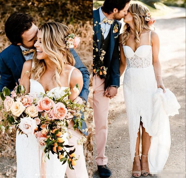 Bohemain Mermaid Wedding Dresses Vintage Full Lace Spaghetti Backless Sexy Slit Trumpet Country Boho Bridal Gown Wedding Dress