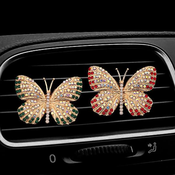Presentes Diamante borboleta Car Air Freshener Auto tomada Perfume Clipe Ornamento no carro difusor Bling acessórios de decoração de interiores