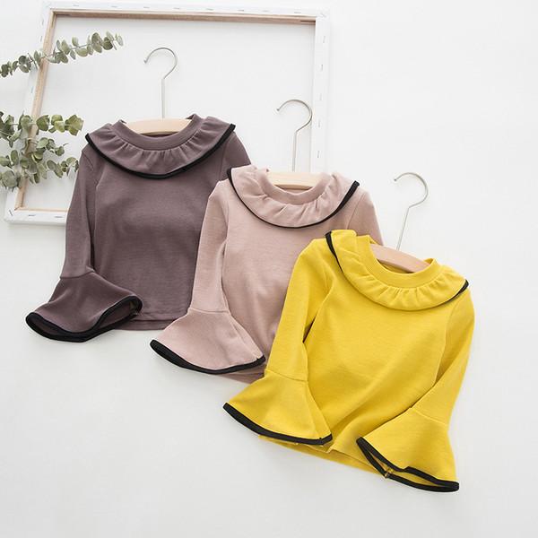 2 3 4 5 6 anni di moda del chiarore della maglietta del manicotto della neonata maglietta per le ragazze vestiti del bambino bambino Cotone Solid Top Tee bambini Pullover