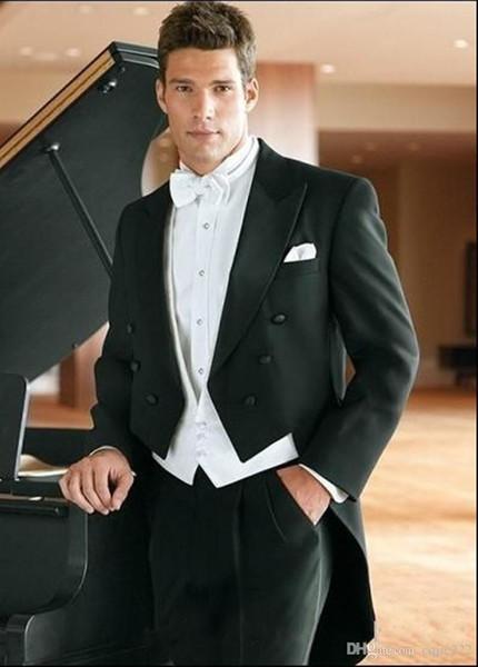 Nuevo estilo Tailcoat Groom Tuxedos Black Best man Peak Satin Lapel Groomsman Hombres Trajes de boda Novio (chaqueta + pantalón + corbata + chaleco) 108