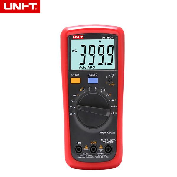 UNI-T UT136C + Цифровой мультиметр Измеритель с автоматическим отключением питания Напряжение переменного / постоянного тока Ток Сопротивление Диодная заглушка Гц тестового диодного измерителя