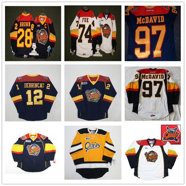Personalizzato CHL Erie Lontre OHL 97 Connor McDavid 12 Alex DeBrincat 28 Connor Brown 74 Dane Fox Authentic Hockey maglie Navy cucita Logos