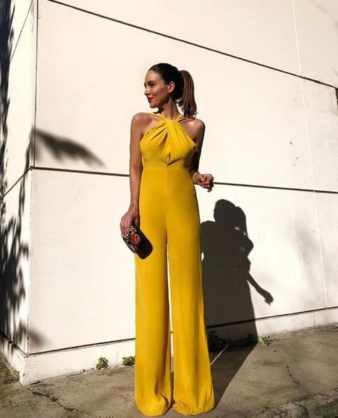 Элегантный желтый комбинезон партия носить вечерние платья брюки костюмы дешевые шифон выпускного вечера платья комбинезон платья знаменитостей LFF2172