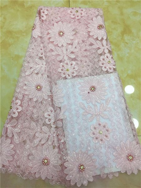2018 Hot Sale beads Sequins Embroidered African Lace Fabric High Quality With Rhinestone French Net Guipure Lace Fabrics Pink
