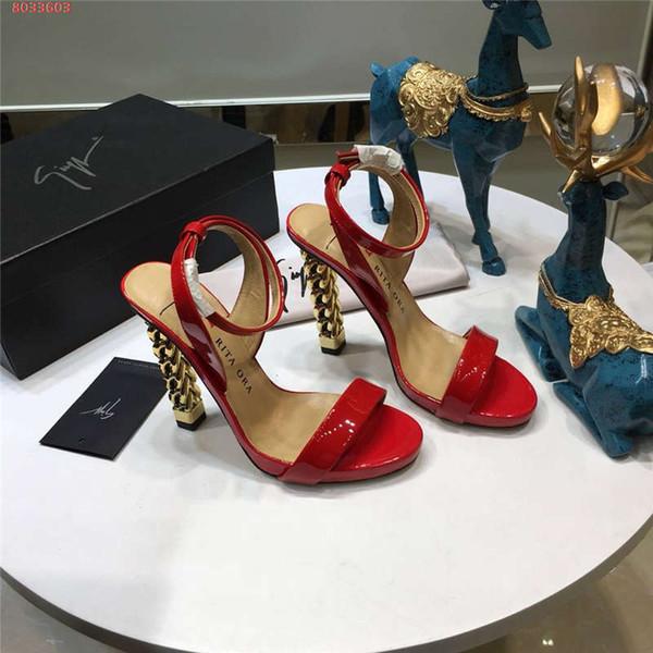 Neue Lackledersandalen für Damen, Sandalen mit Strassstretch aus Gold und Damen aus Leder