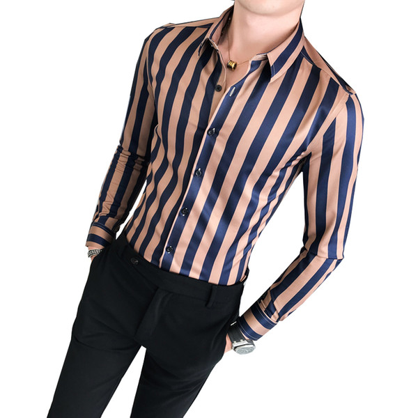 Striped Shirt 2019 New Men's Business Slim Long Sleeve Shirt High Quality Low Collar Men's Social Club Casual Top
